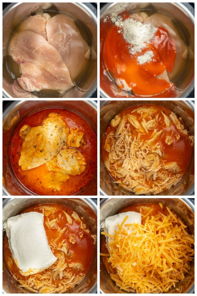 step by step collage making buffalo chicken dip