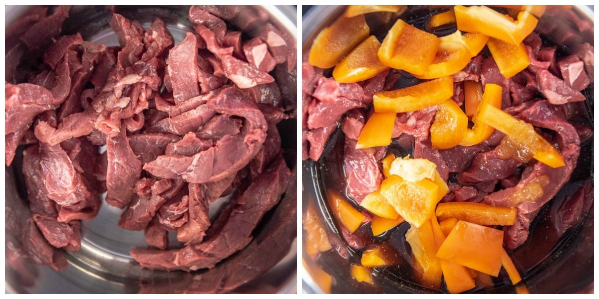 collage of adding beef and peppers to instant pot