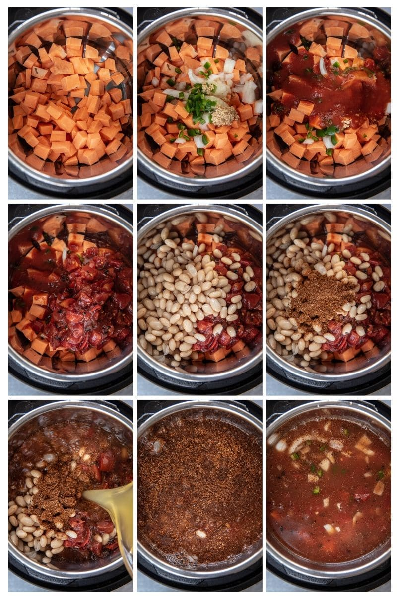 step by step collage making vegetarian tortilla soup in instant pot