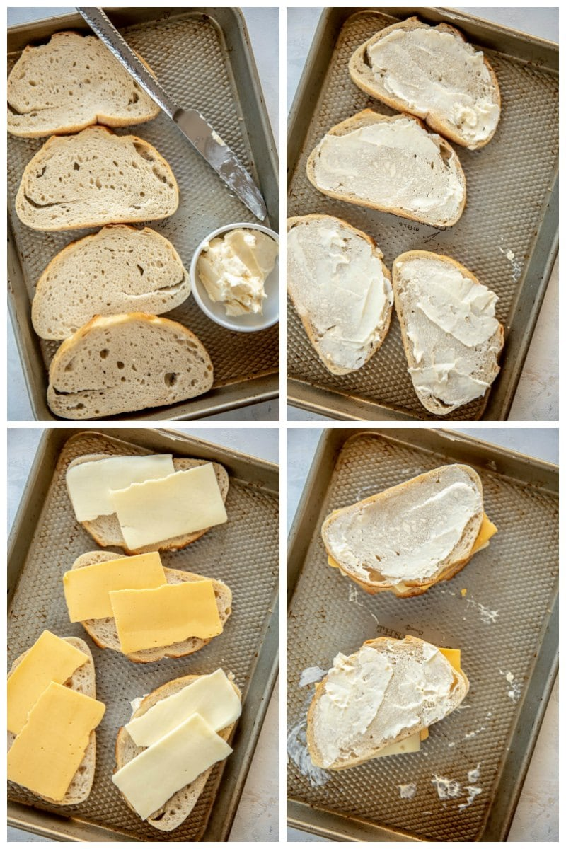 step by step prepping bread and cheese for grilled cheese