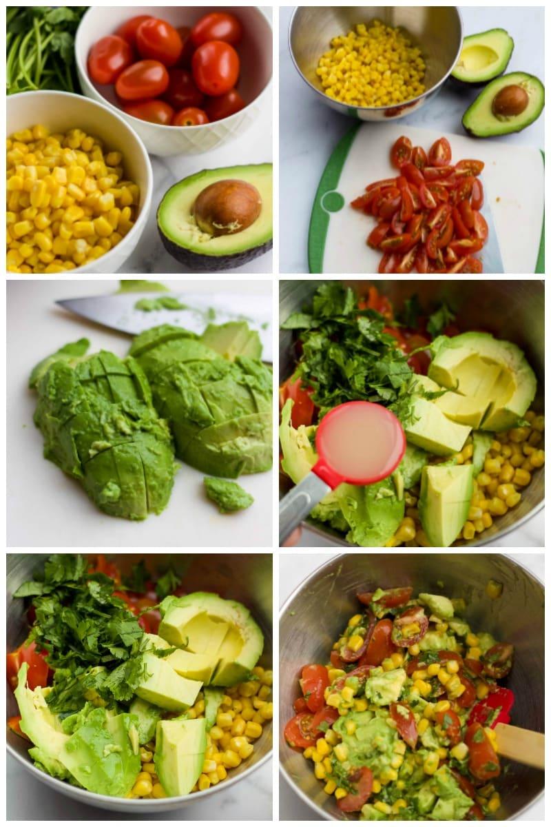 step by step making corn salsa