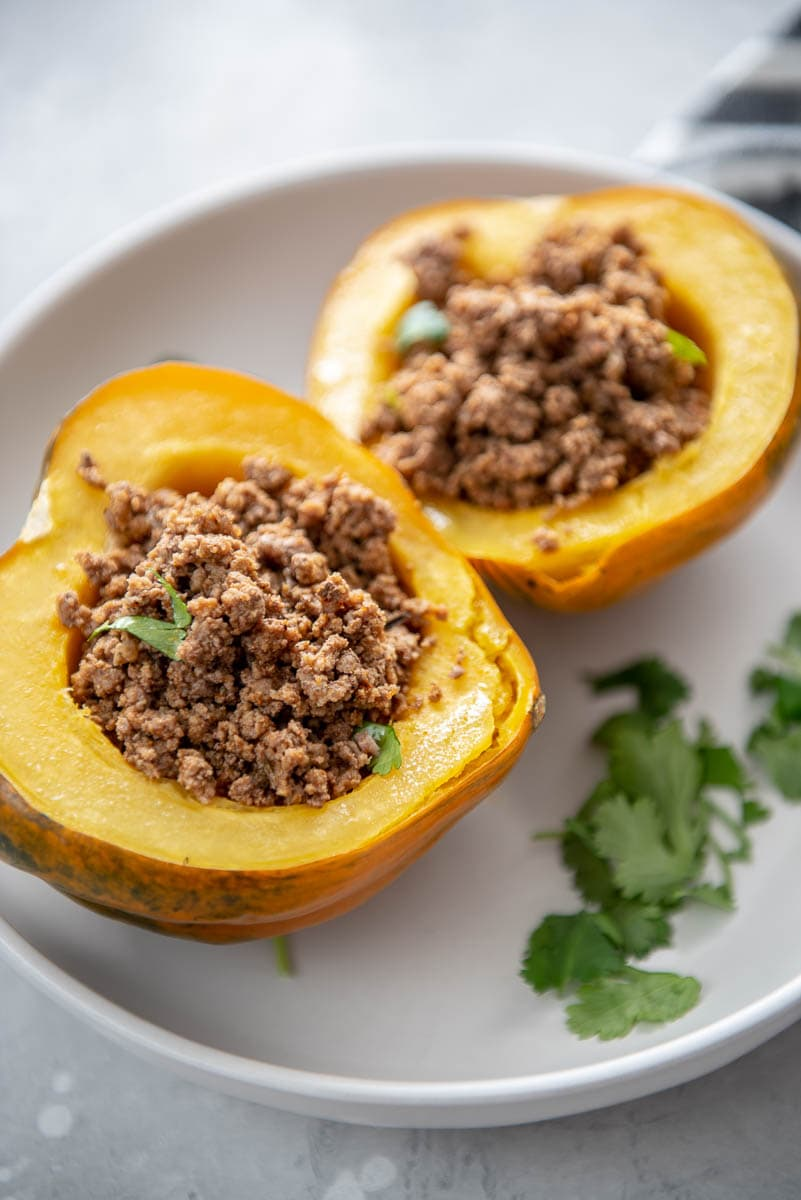 acorn squash halves stuffed with taco meat