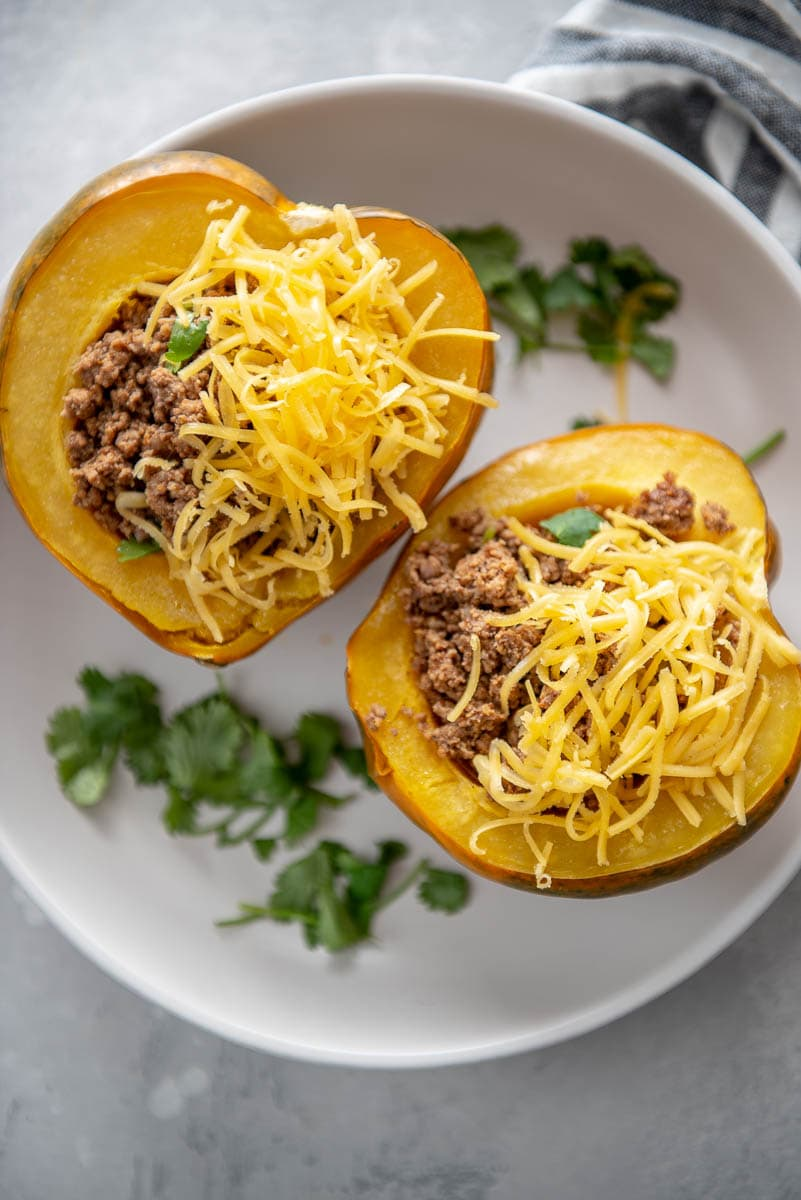acorn squash halves stuffed with taco meat and cheese