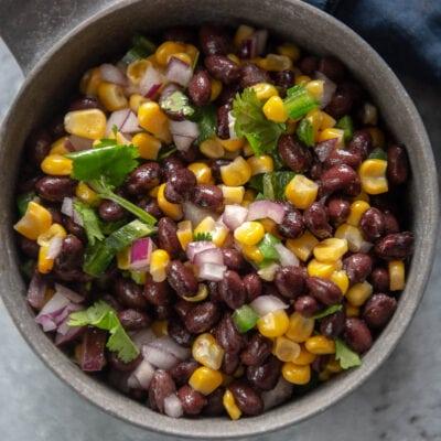 black bean and corn salsa in a bowl