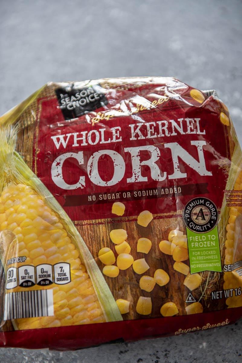 bag of frozen corn