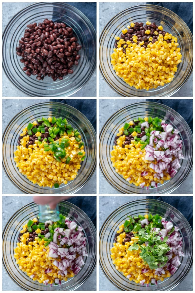 step by step adding ingredients for corn salsa with black beans
