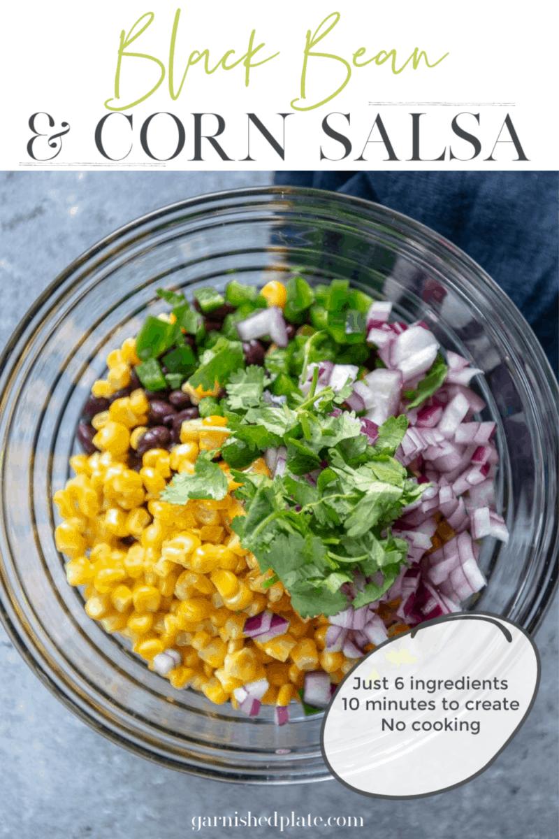 black bean and corn salsa in a glass bowl