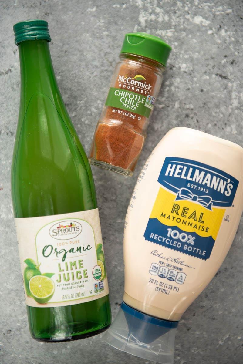bottled lime juice, chipotle chili powder and mayo