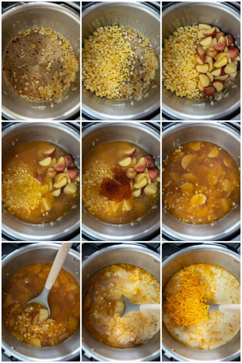 collage showing each step of adding ingredients to instant pot for corn chowder