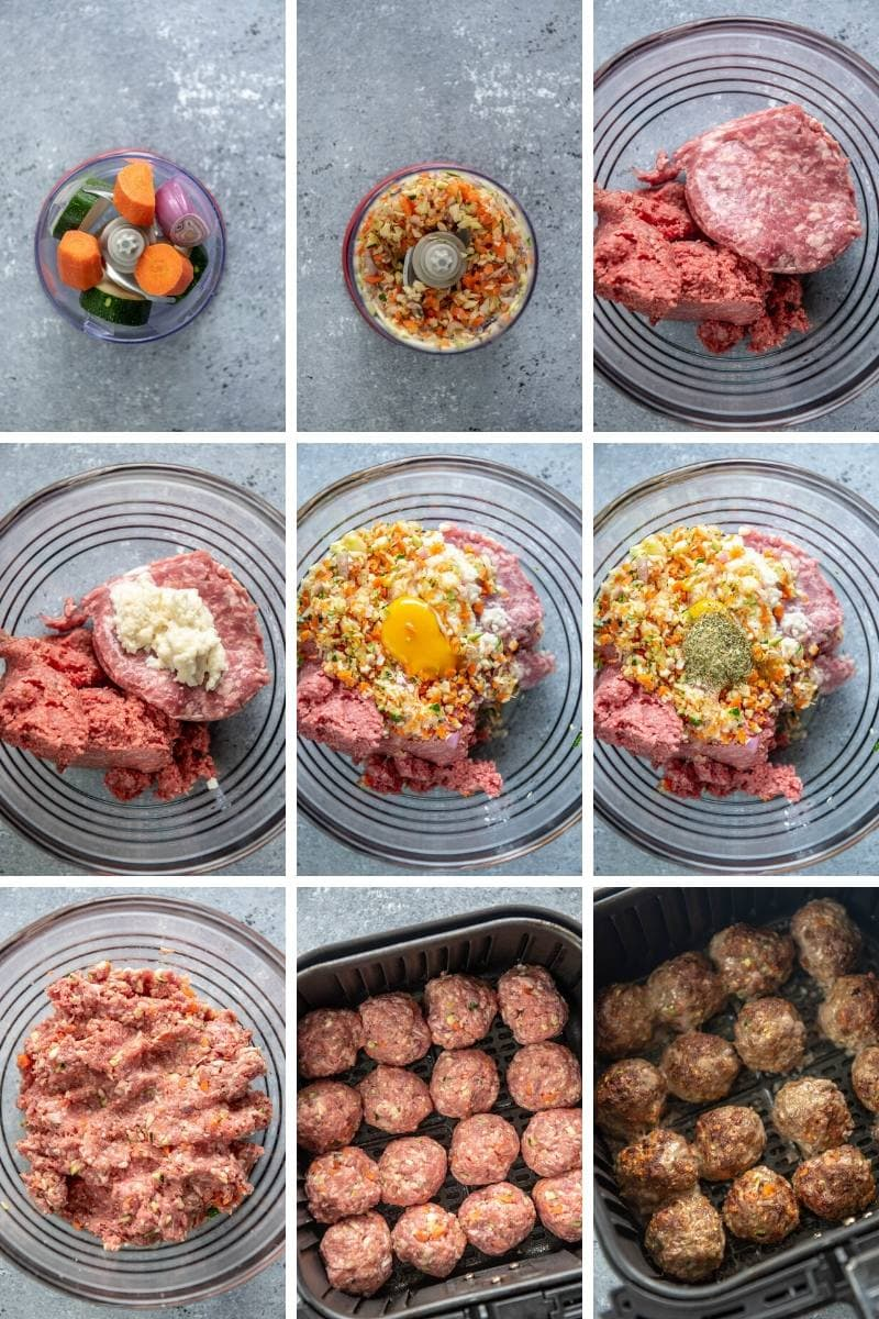 step by step collage making meatballs and placing in air fryer basket