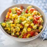 corn salsa in a gray bowl
