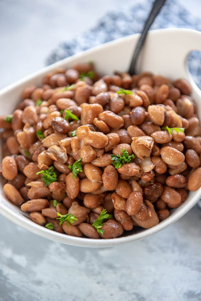 pinto beans in a white bowl with spoon