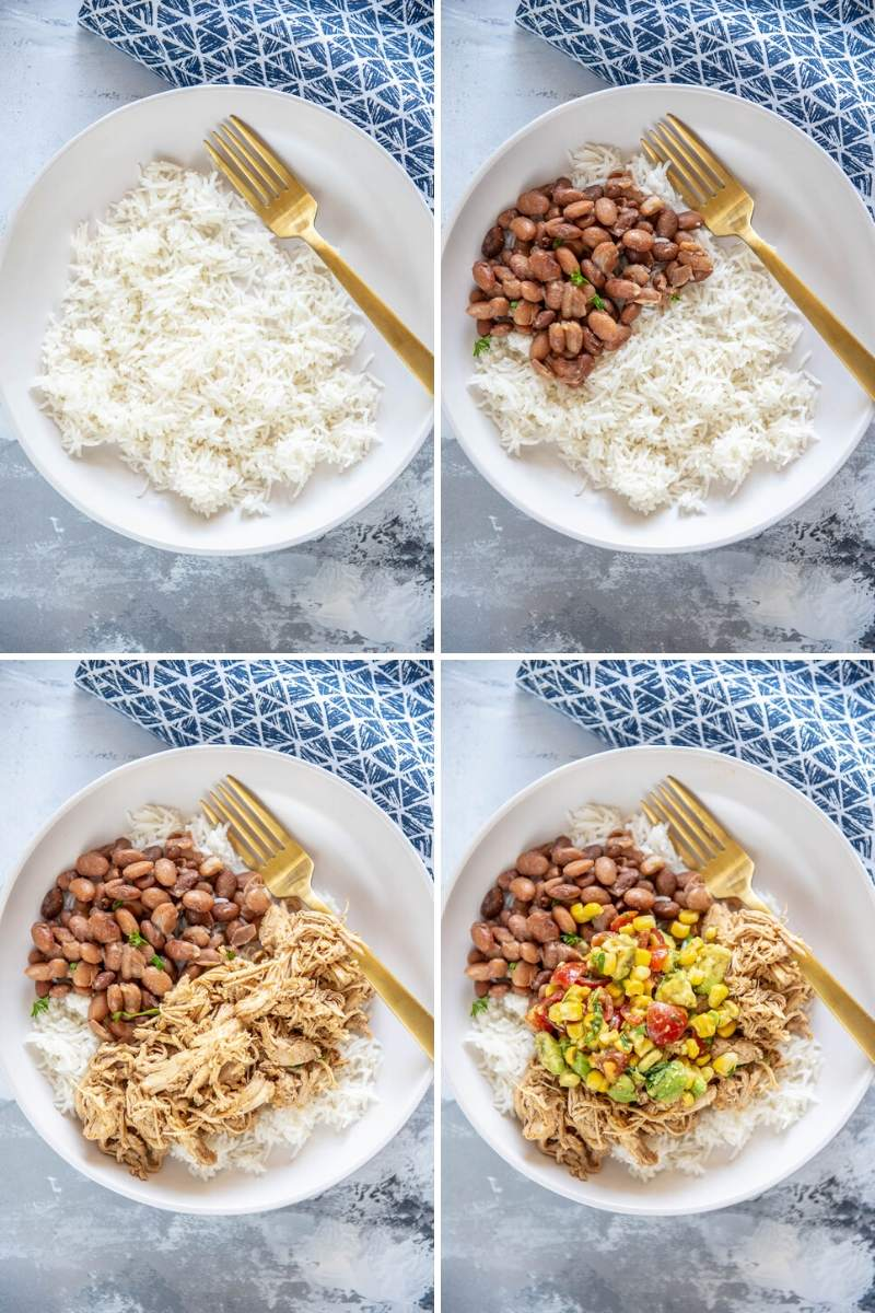 step by step assembling chicken burrito bowls in white bowl