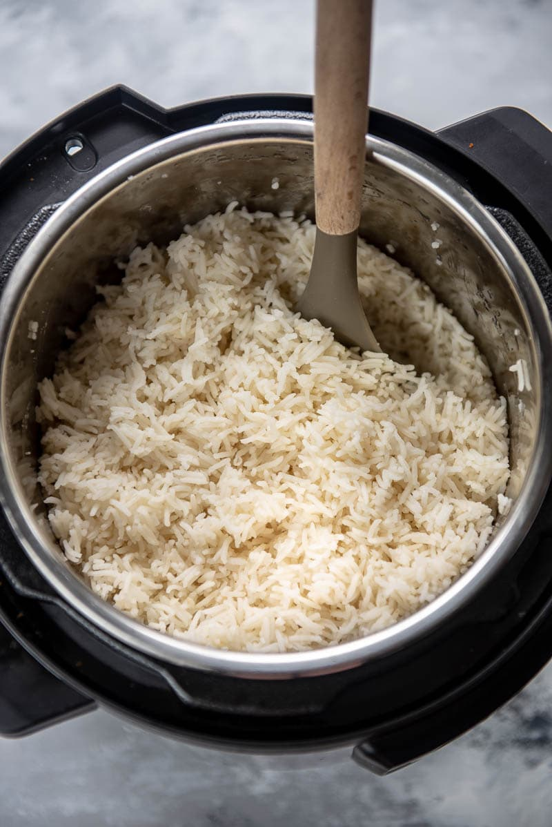 cooked basmati rice in instant pot with spoon