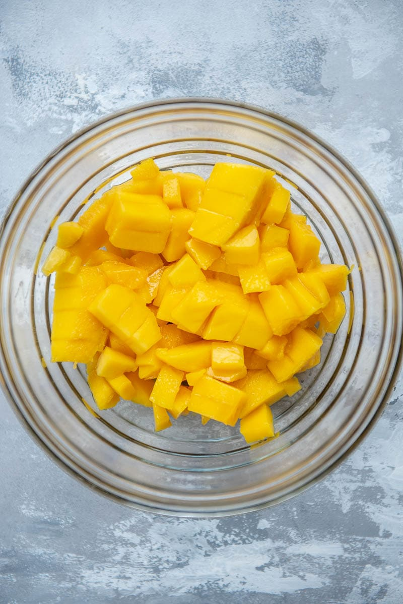 diced mangoes in a bowl