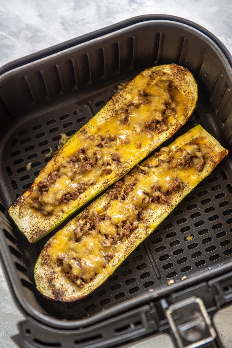 zucchini boats with meat and cheese in an air fryer