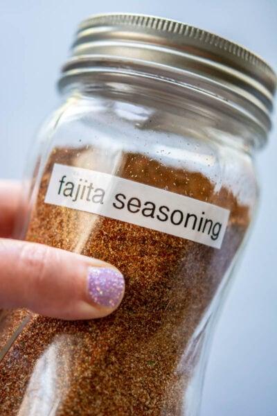 homemade fajita seasoning in a glass jar