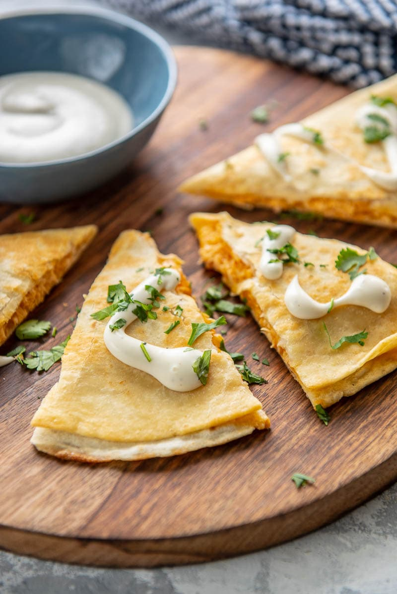 buffalo chicken quesadillas with dressing