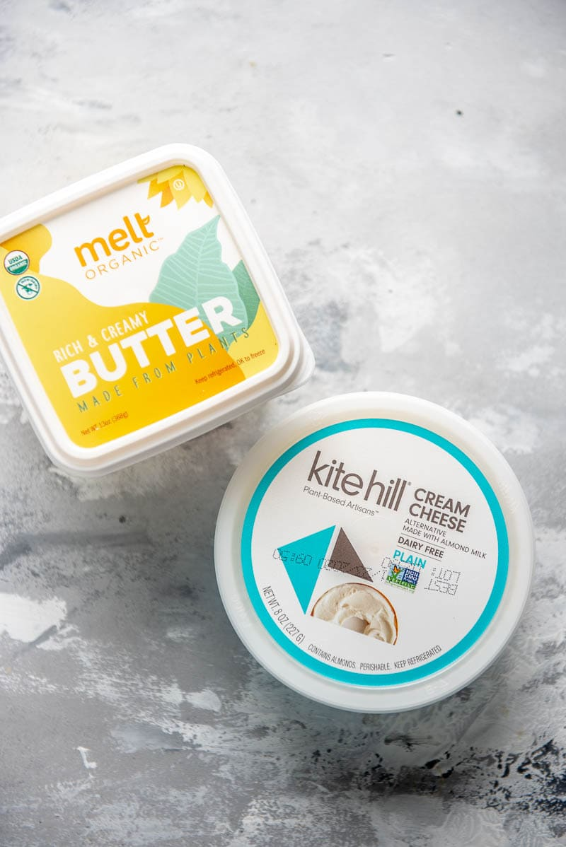 containers of butter and cream cheese