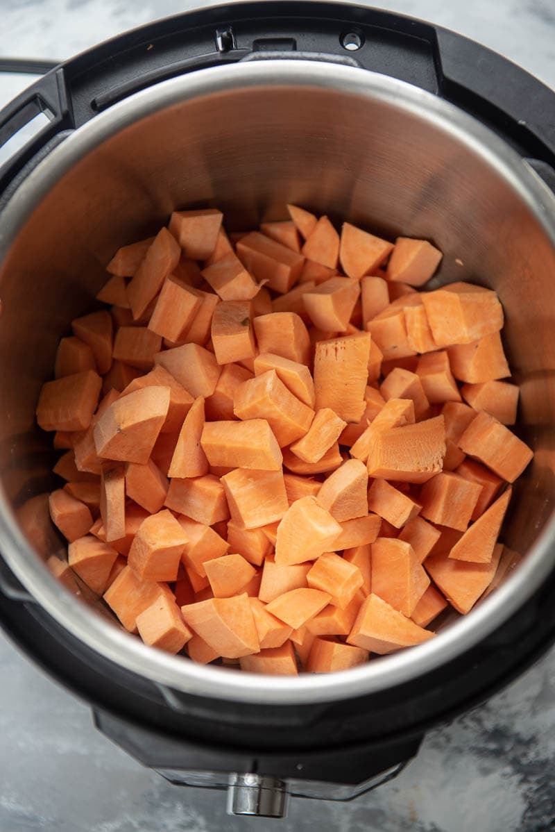 cubed sweet potatoes in an instant pot