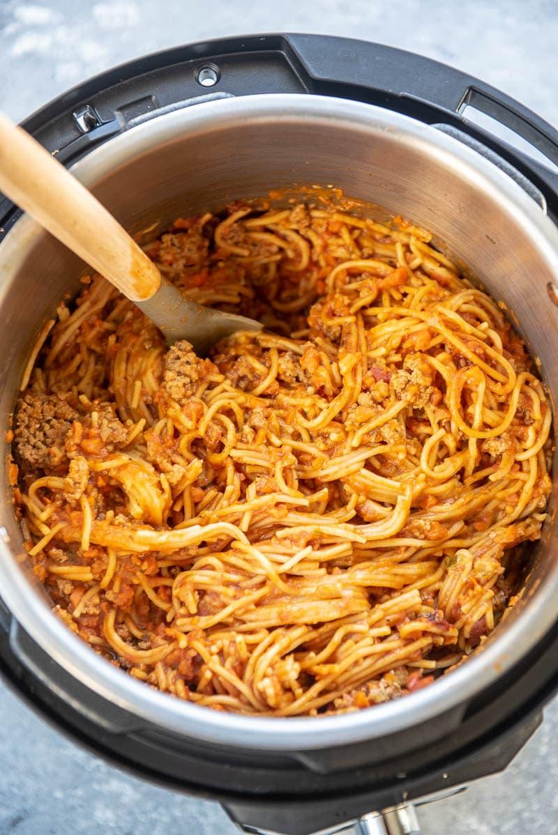 overhead shot of sneaky veggie spaghetti in instant pot