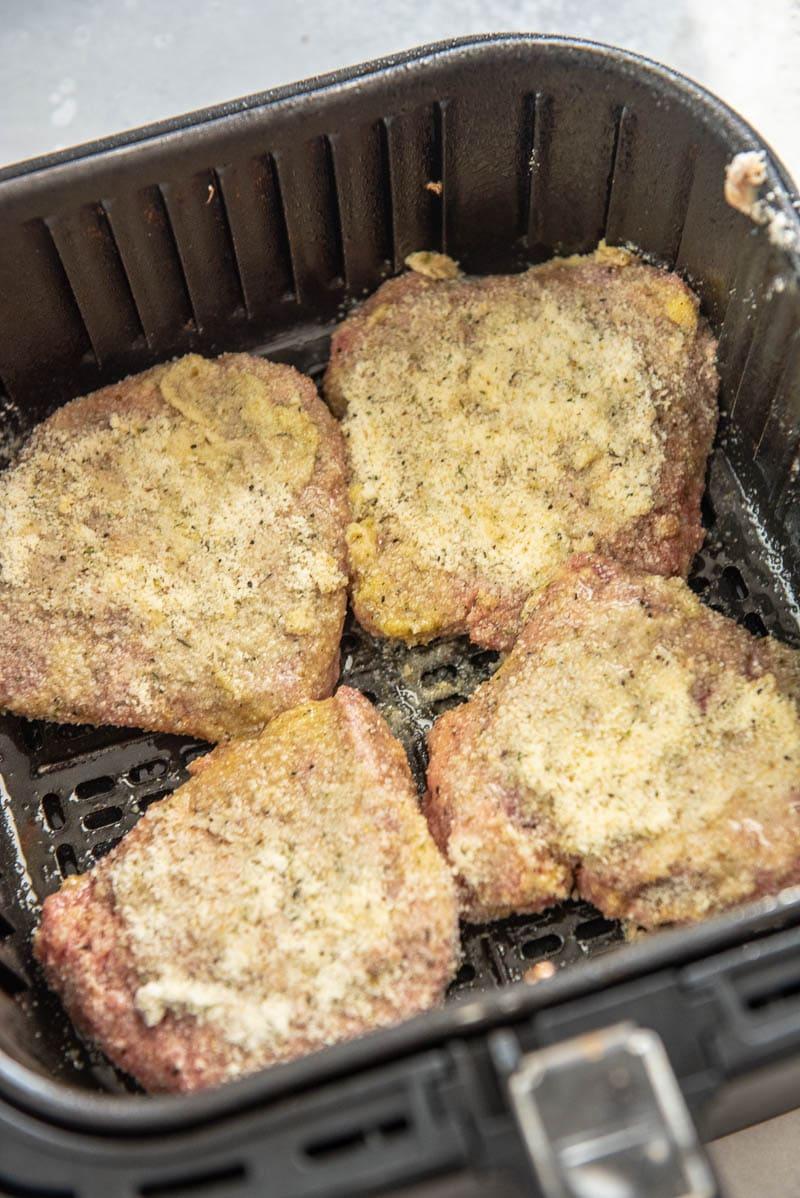 battered steaks in an air fryer