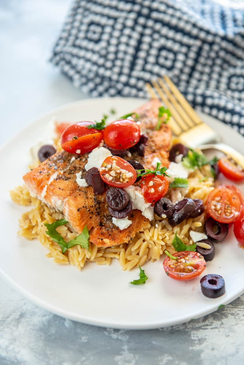 greek salmon on a plate