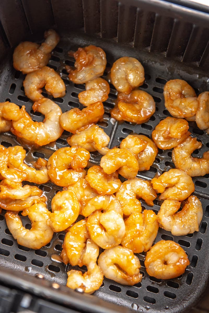 marinated sriracha shrimp in an air fryer
