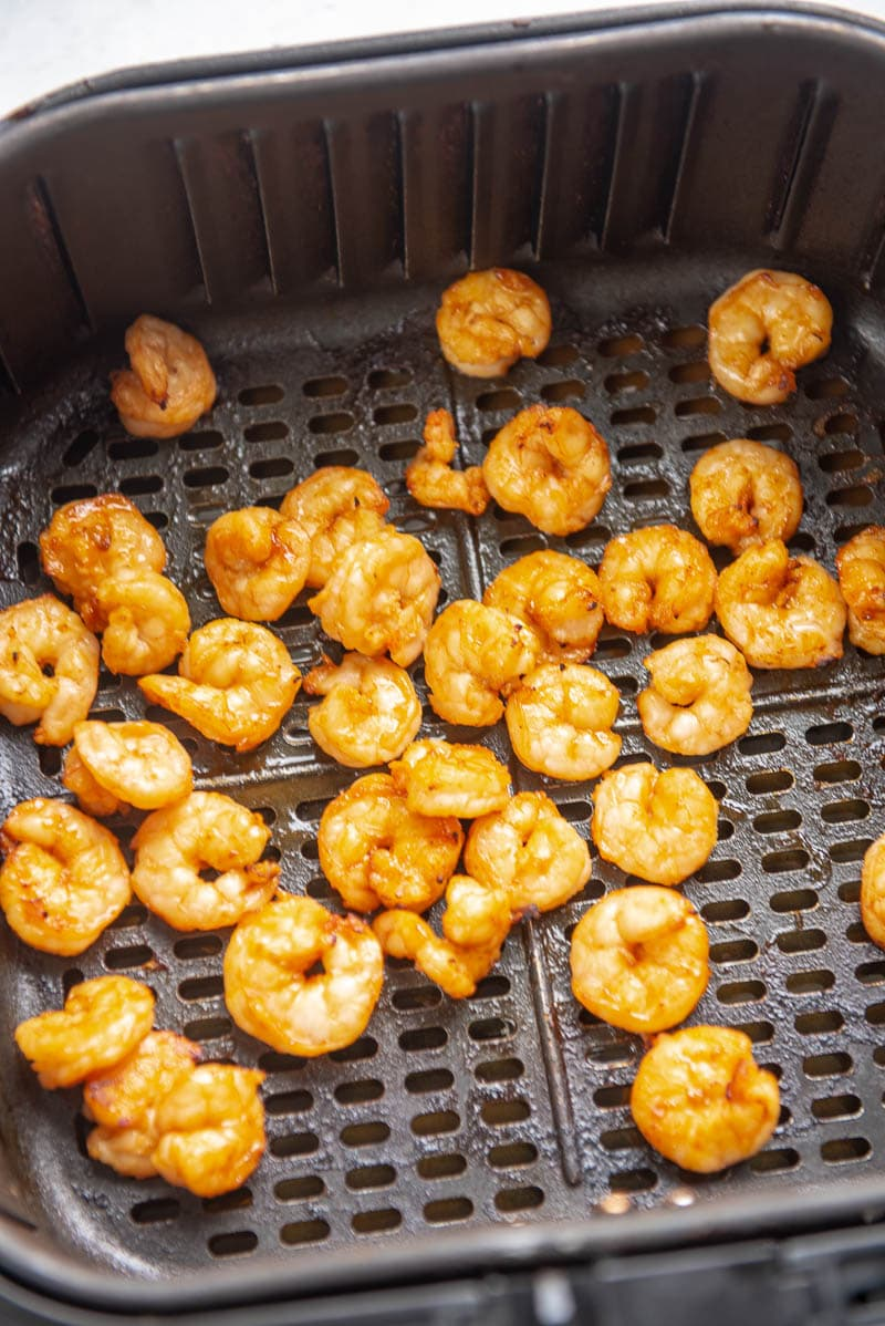 cooked sriracha shrimp in an air fryer