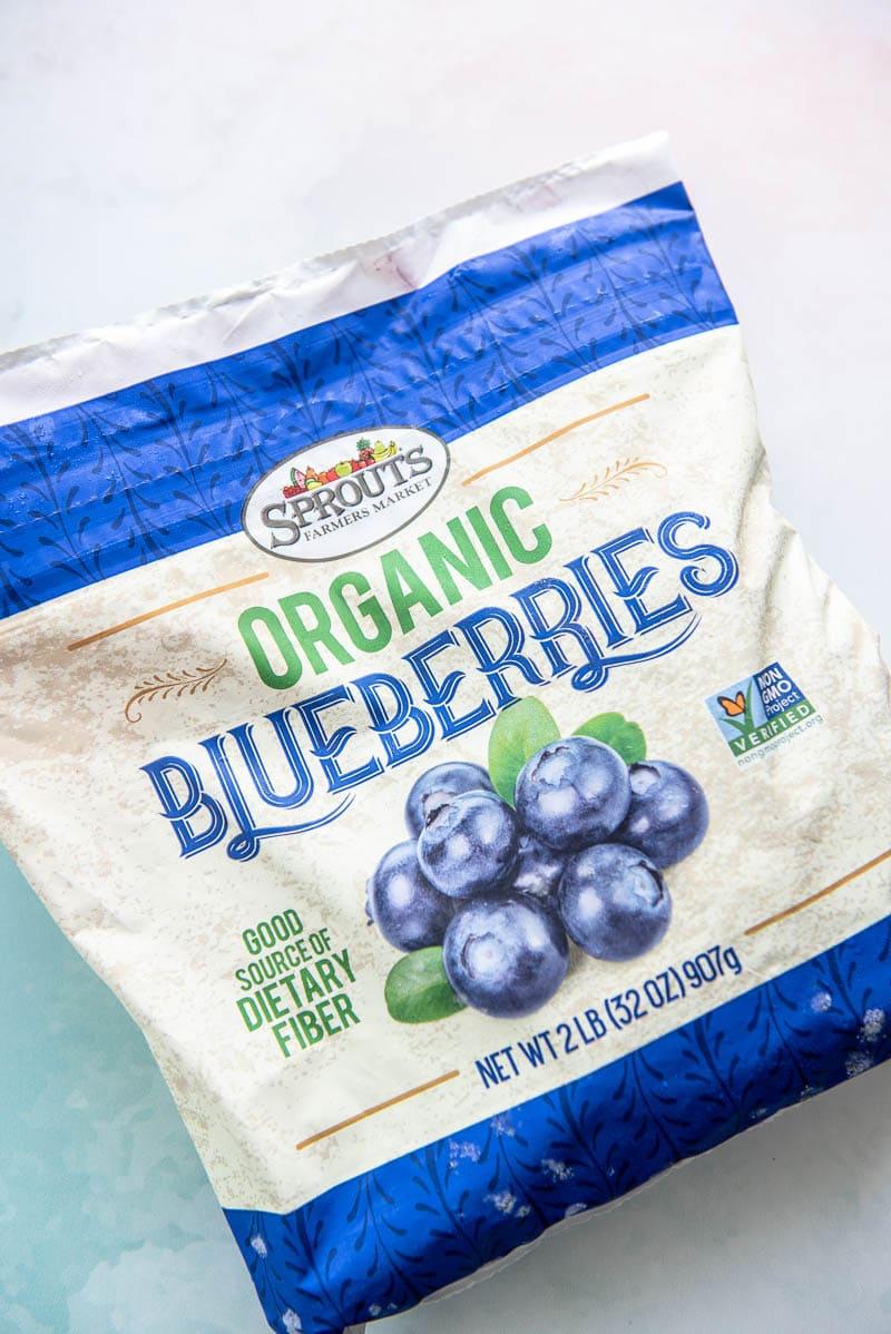 bag of frozen blueberries