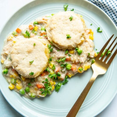 chicken pot pie on a plate with fork