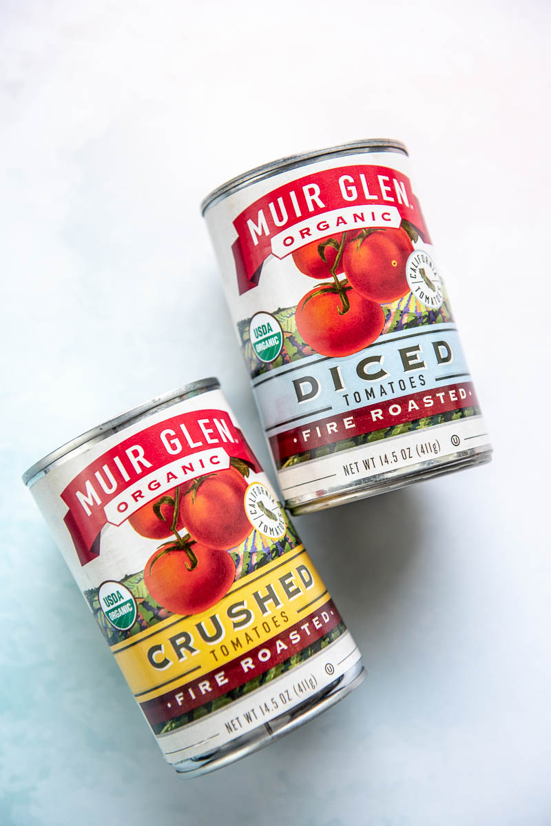 can of diced tomatoes and can of crushed tomatoes