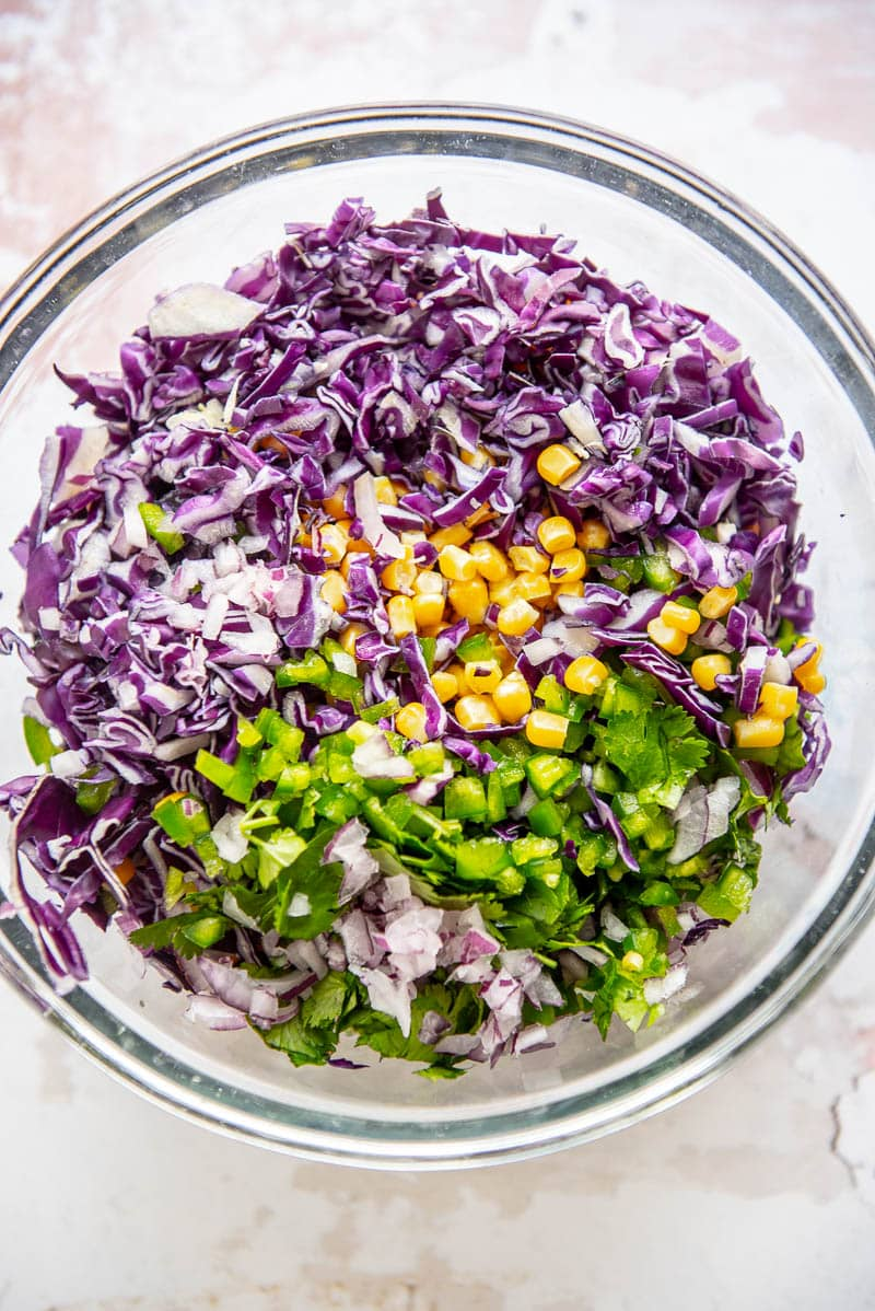 chopped ingredients for corn slaw
