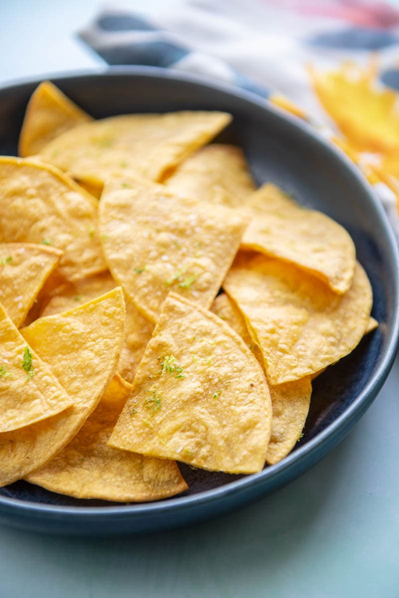 air fried tortilla chips on a plate