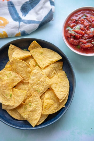 corn tortilla chips on a blue plate next to a pink bowl of salsa