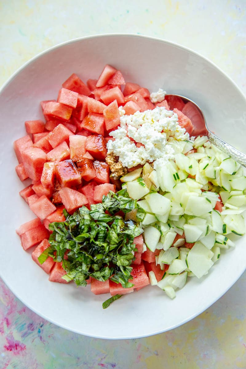 bowl with watermelon salad ingredients